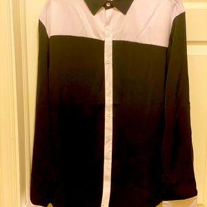 Black/White Two-Tone L/S Button Down Dress Shirt